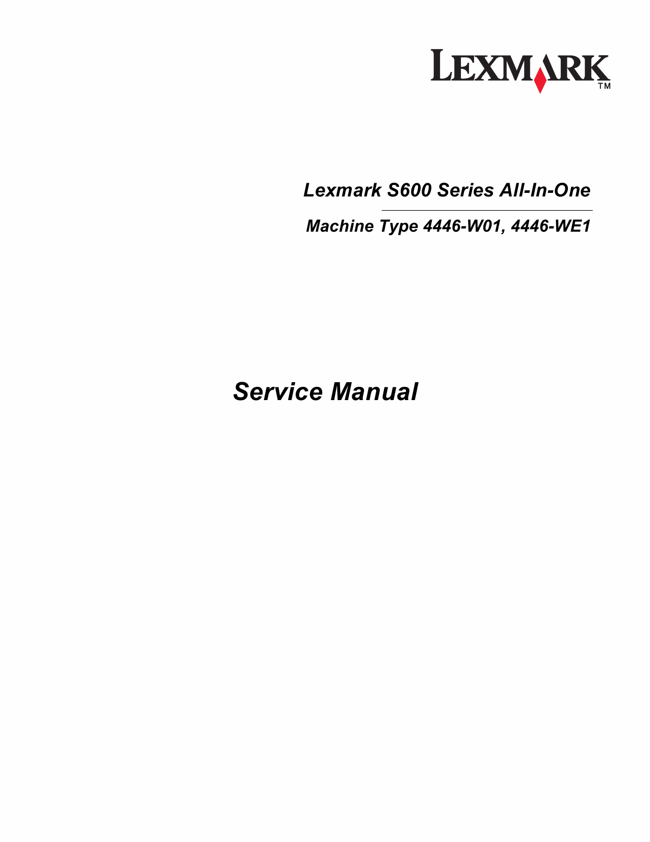 Lexmark All-In-One S600 4446 Service Manual-1
